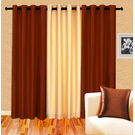 Cortina Plain Set Of 3- 5Ft Curtain, coffee ivory