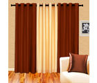 Cortina Plain Set Of 3- 5Ft Curtain, red ivory