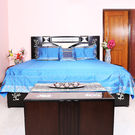 Rivayat Banarasi Hand Made Silk King Size Bed Sheet with 2 Pillow Cover & 2 Cushion Cover, peacock blue