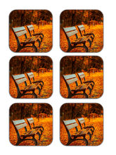meSleep Autumn Chairs Wooden Coaster-Set of 6, orange