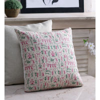 Rang Desi White Silk 16 x 16 Inch Bhagalpuri Hand Block Printed Cushion Cover, multicolor