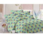 Valtellina Floral Design Cotton Double Bed Sheet With 2 Pillow Cover (TC-140) MO_ 7537, blue