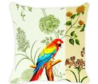 Leaf Designs Ivory Parrot Cushion Cover, multicolor