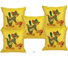 Me Sleep Cushion Covers Painted Tom And Jerry Set Of 5 (Yellow)