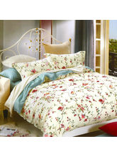 Aapno Rajasthan Beautiful Cotton Double Bedsheet with Floral Print, off white