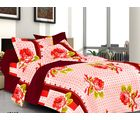 Valtellina Rose Double Bed Sheet with 2 Pillow Covers, red