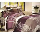 Welhouse India Checkered Print Double Bed Sheet With 2 Pillow Cover, purple