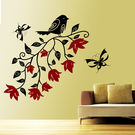 Creative Width Bird With Flowers Wall Decal, multicolor, small