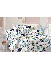Valtellina Floral Design Cotton Double Bed Sheet With 2 Pillow Cover (TC-140), white, design 4