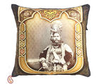 Poly Velvet Digital Print Cushion Cover with Raja of Rajastani, brown