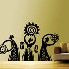 Creative Width Dancing Tribals Wall Decal, multicolor, large