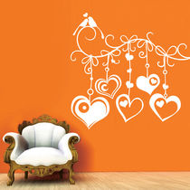 Creative Width Hanging Hearts Wall Decal, multicolor, large