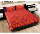 GRJ INDIA Rajasthani Camel & Floral Print Double Bedsheet With 2 Pillow Covers, multicolor
