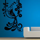 Creative Width Peacock On Branch Wall Decal, multicolor, large