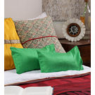 Rang Desi Green Silk Solid Cushion Cover,  green