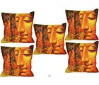 Me Sleep Cushion Covers Painted Buddha In Meditation Set Of 5 (Orange)