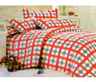 Welhouse India Checkered Print Double Bed Sheet With 2 Pillow Cover, multicolor