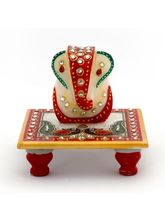 Little India Meenakari Work Lord Ganesha Marble Pooja Chowki 388, white