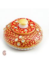 Sindoor Daani With Kundan And Gold Paint Work In White Marble, red