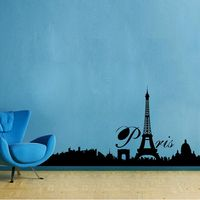 Creative Width City Of Paris Wall Decal, multicolor, small