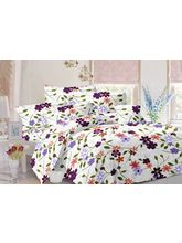 Valtellina Floral Design Cotton Double Bed Sheet With 2 Pillow Cover (TC-140), white, design 1