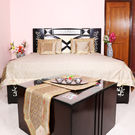 Rivayat Banarasi Hand Made Silk King Size Bed Sheet with 2 Pillow Cover & 2 Cushion Cover, golden cream