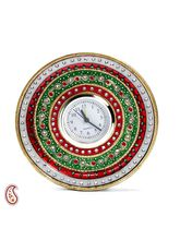 White Marble Clock With Kundan And Meenakari Work, multicolor