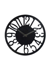 Black Cut Design Round Analog Wall Clock, black