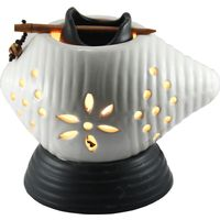 Brahmz Aroma Oil Burner Electric Shankh, ivory and black
