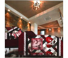 Aapno Rajasthan Polyester Double Bedsheet with Big Contemporary Print, maroon