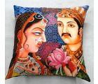 Welhouse India King Loves Queen 3D Digital Cushion Cover, multicolor