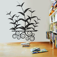 Creative Width Leaves With Swirls Wall Decal, multicolor, small