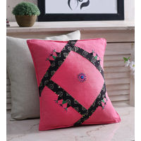 Rang Desi Pink Cotton Handcrafted Cushion Cover - Set of 1,  pink
