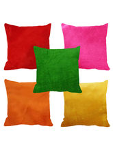 Me Sleep Set Of 5 Velvet Cushions Covers (Multicolor), standard multicolor