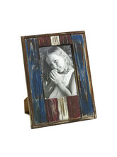 Aapno Rajasthan Red and Blue Rustic Finish Wooden Photo frame with matte finish