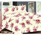 Valtellina Floral Design Cotton Double Bed Sheet With 2 Pillow Cover (TC-140), design a, cream