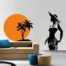 Creative Width Rising Sun On Beach Wall Decal, multicolor, small