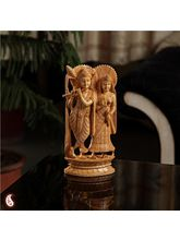 Adorably carved Radha and Krishna (Brown)