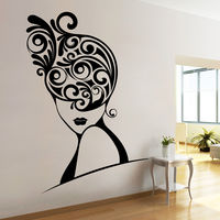 Creative Width Swirls In Hair Wall Decal, multicolor, large
