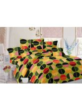 Valtellina Geometric Design Cotton Double Bed Sheet With 2 Pillow Cover (TC-140), green