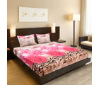 Valtellina India Beautiful Floral Design 1 Double Bedsheet & 2 Pillow Covers (FLT-008), multicolor
