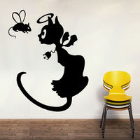 Creative Width Angel Cat Wall Decal, multicolor, large