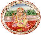 Marvel in Marble - Hand Painted Lord Ganesh-018(Multicolor)