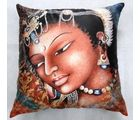 Welhouse India A Lady Portrait 3D Digital Cushion Cover, multicolor