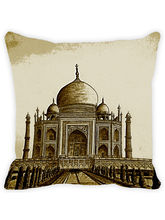 Leaf Designs Sap Green Taj Mahal Cushion Cover, multicolor