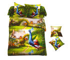 Aapno Rajasthan Polyester King Size Bedsheet with Sweet Peacock Print, green