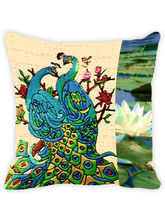 Leaf Designs Floral Peacock Cushion Cover (A), multicolor