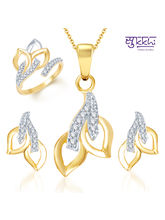 Sukkhi Beguilling Classy Gold and Rhodium Plated CZ Pendant Set and Ring Combo, 12