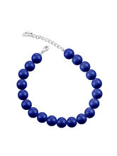 Mahi Rhodium Plated Pearl Crystal Dark Lapis Bracelet with Swarovski Elements For Women BR1104601RDLap