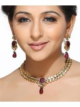 White Teardrop Kundans And Rubies Necklace Set